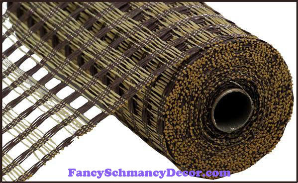 "10"" X 10 yd Poly Burlap Chocolate & Beige Check Mesh"