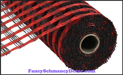 "10"" X 10 yd Poly Burlap Red & Black Check Mesh"