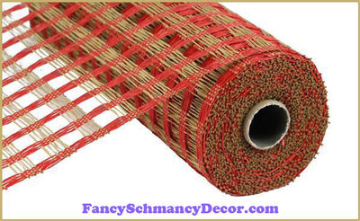 "10"" X 10 yd Poly Burlap Red & Buff Check Mesh"