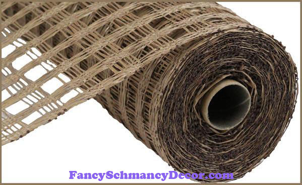 "10"" X 10 yd Poly Burlap Brown Check Mesh"