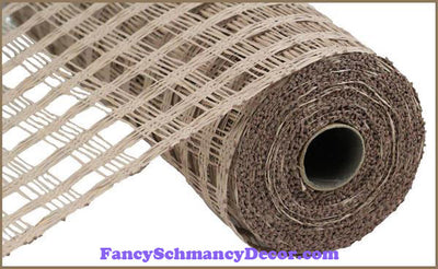 "10"" X 10 yd Poly Burlap Natural Check Mesh"