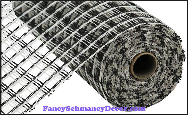 "10"" X 10 yd Poly Burlap Black & White Check Mesh"
