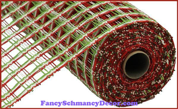 "10"" X 10 yd Poly Burlap Red, Cream, & Green Check Mesh"