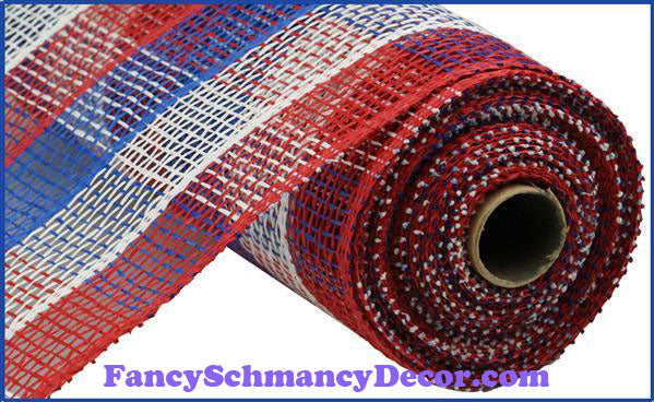 "10"" X 10 yd Poly Burlap Red, White, & Blue Check Mesh"