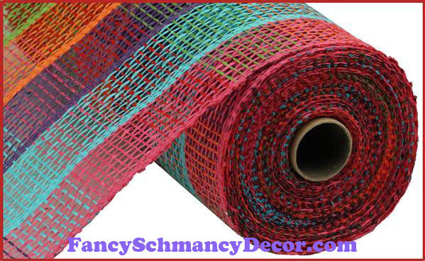 "10"" X 10 yd Poly Burlap Fuchsia, Turquoise, Purple, Orange, Green, & Red Check Mesh"