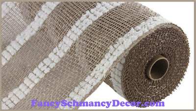"10"" X 10 yd Poly Burlap Snowdrift Natural with White Mesh"