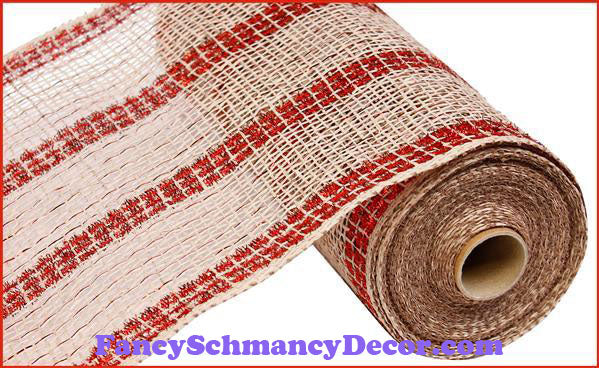 "10"" X 10 yd Poly Burlap/Tinsel/Foil Natural White & Red Stripe"