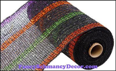 "10"" X 10 yd Poly Burlap Tinsel Foil Black with Purple, Copper, & Green Stripe Mesh"
