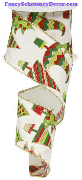 "2.5"" X 10 yd Glittered Christmas Trees Wired Ribbon"