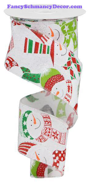 "2.5"" X 10 yd Snowman Wired Ribbon"