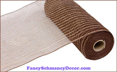 "10.5"" X 10 yd Poly Jute Chocolate & Natural Mesh"