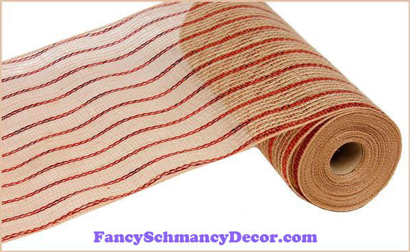 "10.5"" X 10 yd Poly Jute Metallic Red & Natural Mesh"