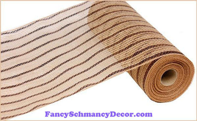 "10.5"" X 10 yd Poly Jute Metallic Chocolate & Natural Mesh"