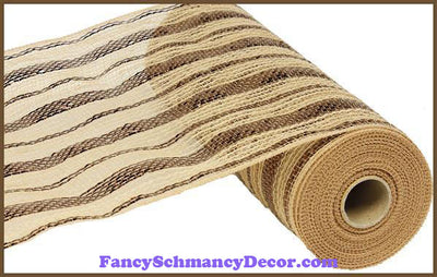 "10.5"" X 10 yd Poly/Jute/Metallic Chocolate & Natural Mesh"