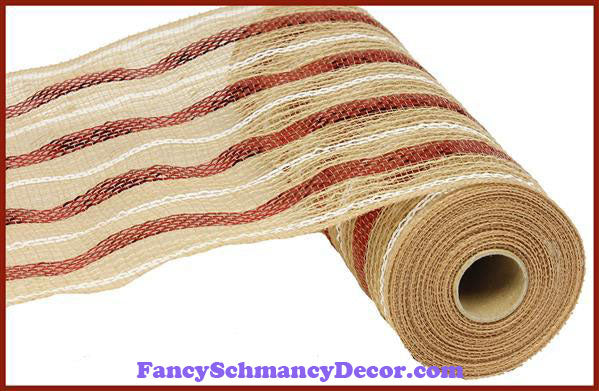 "10.5"" X 10 yd Poly Jute Metallic Natural, Red, & White Mesh"