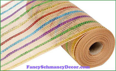 "10.5"" X 10 yd Poly Jute Laser & Natural Metallic Mesh"