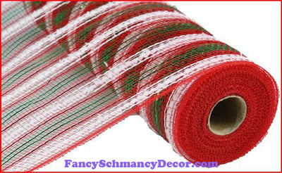 "10.5"" X 10 yd Metallic Snowdrift Red, White, & Emerald Stripe"