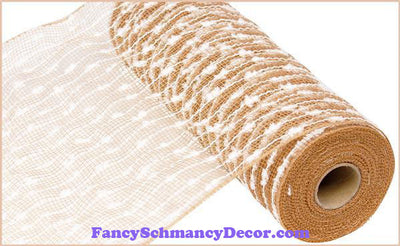 "10.5"" X 10 yd Cotton Ball Poly Natural & White Mesh"