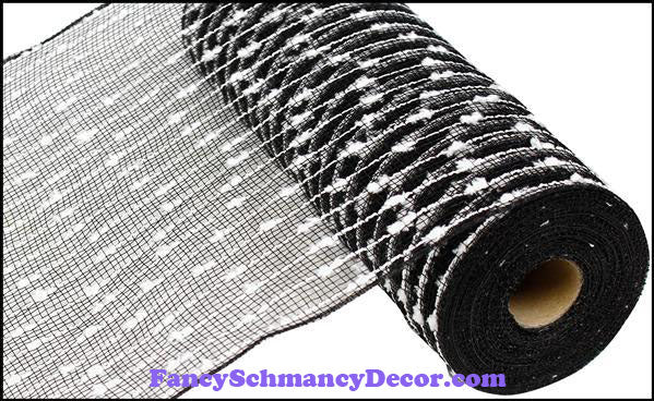 "10.5"" X 10 yd Cotton Ball Poly Black & White Mesh"