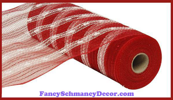 "10.5"" X 10 yd Poly/Foil Snowball Red & White Mesh"