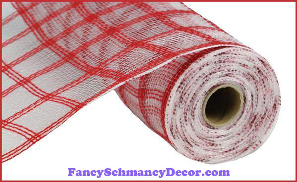 "10.5"" X 10 yd Faux Jute Red Check Mesh"