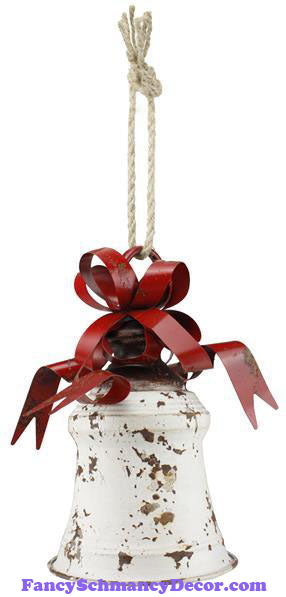 "8.25"" H x 6"" Dia Metal Liberty Rustic White Red Bell W/Bow"