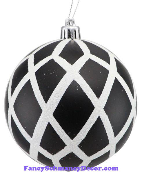 100 Mm Glitter Matte Harlequin Ball Black White Ornament