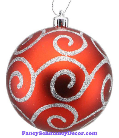 100 MM Matte Red Silver Glitter Scroll Swirl Ornament Ball