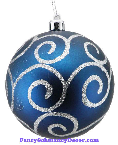 100 Mm Glitter Scroll Swirl Ball Matte Smoke Blue Silver Ornament