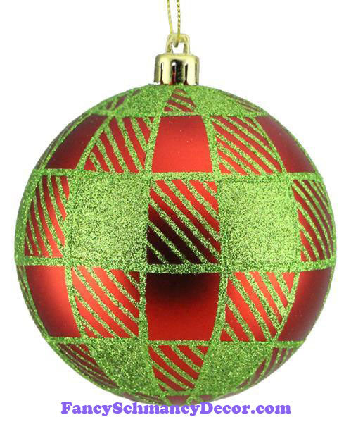100 Mm Striped Check Red Lime Green Ball Ornament