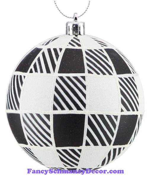 100 Mm Striped Check Black White Ball Ornament