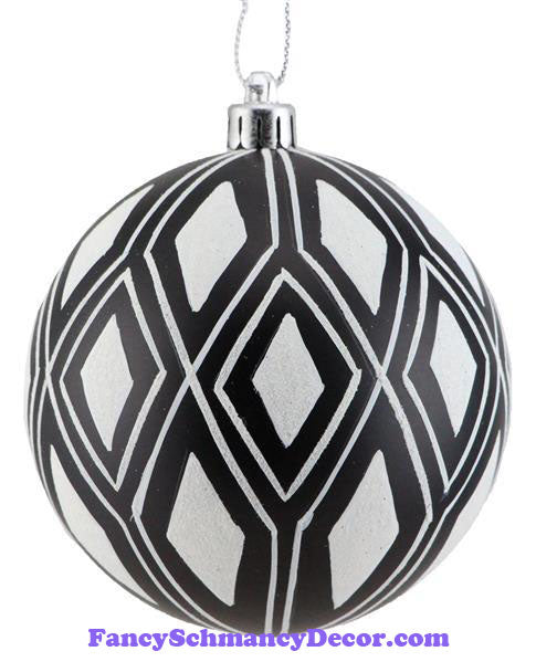 100 Mm Double Harlequin Ball Black White Ornament
