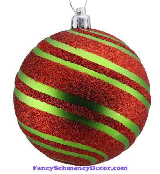 100 Mm Glitter Diagonal Stripe Ball Matte Lime Green Red Ornament