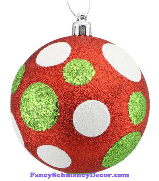 100 Mm All Glitter Polka Dot Ball Red Lime Green White Ornament