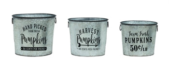 Nostalgic Pumpkin Bucket Set of 3