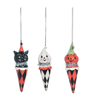 Checkered Cone Halloween Ornament Set of 3