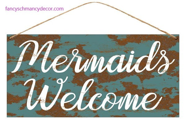"12""L X 6""H Tin Mermaids Welcome Sign"