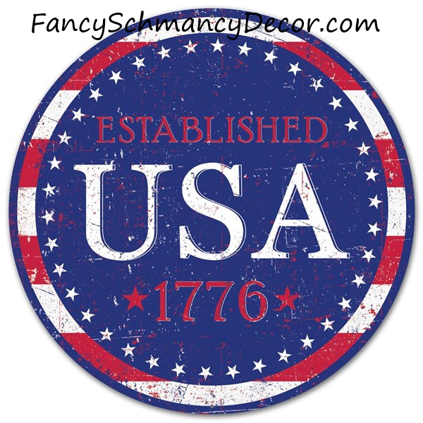 "12""Diameter Metal USA Est.1776 Sign"