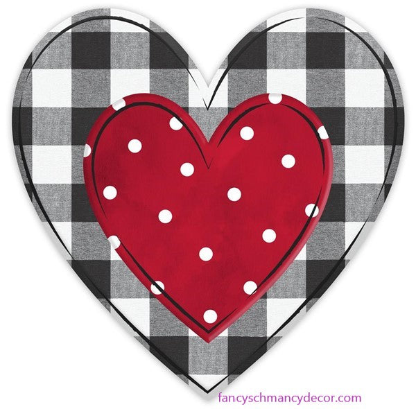 "12""H X 12""L Metal/Embossed Checked Heart"