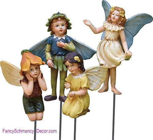 Resin Garden Fairy Pick Assortment of 4 - FancySchmancyDecor