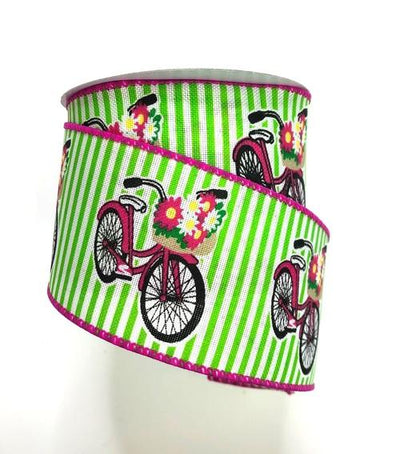 "2.5"" X 10 yd Flowered Bicycles Wired Ribbon"
