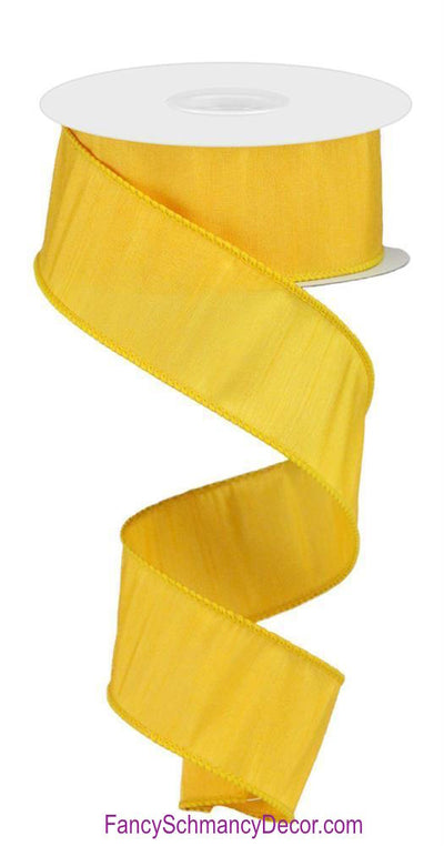 "1.5"" X 10 yd Faux Golden Yellow Dupioni Wired Ribbon"