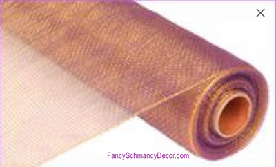 "21"" x 10 yards Two Tone Purple Gold Deco Mesh"