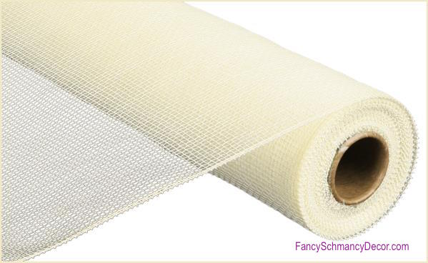 "21"" x 10 yards Cream White Two Tone Deco Mesh"