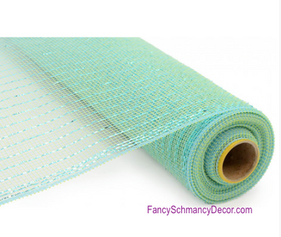 "21"" x 10 Yards Aquamarine Metallic Deco Mesh"
