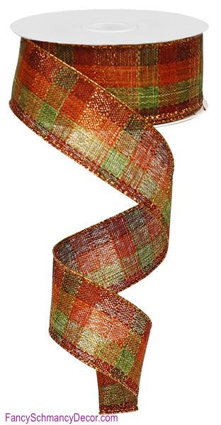 "1.5"" X 10 yd Check W/Metallic/Royal Rust/Moss/Burgundy/Copper Wired Ribbon"