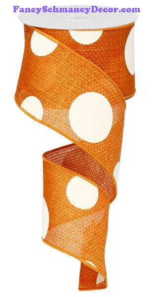 "2.5"" X 10 yd Orange Giant Multi Dot Faux Burlap Ribbon"