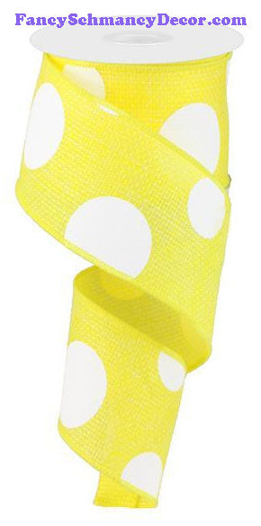 "2.5"" X 10 yd Yellow Giant Multi Dot Faux Burlap Ribbon"