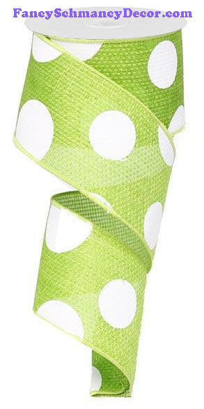 "2.5"" X 10 yd Lime Giant Multi Dot Faux Burlap Ribbon"