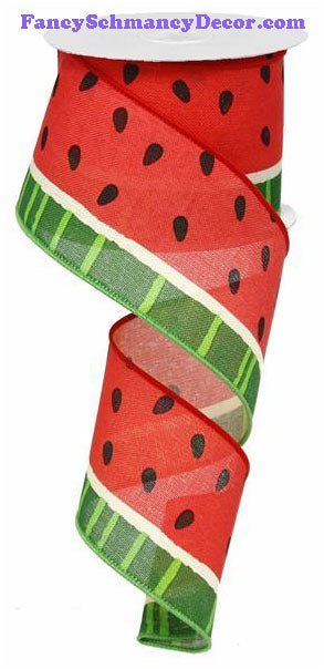 "2.5"" X 10 yd Bold Pink Green Cream Black Watermelon On Royal Wired Ribbon"